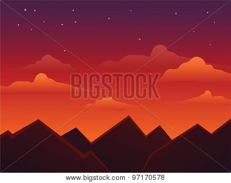 Dusk Skies On Top Of The Mountains