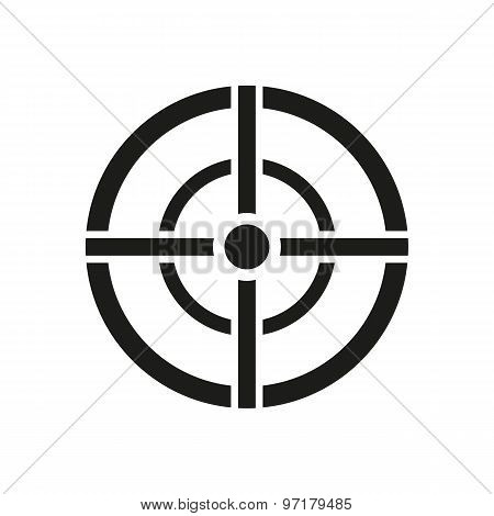 The aim bag icon. Crosshair and target, sight, sniper symbol. Flat
