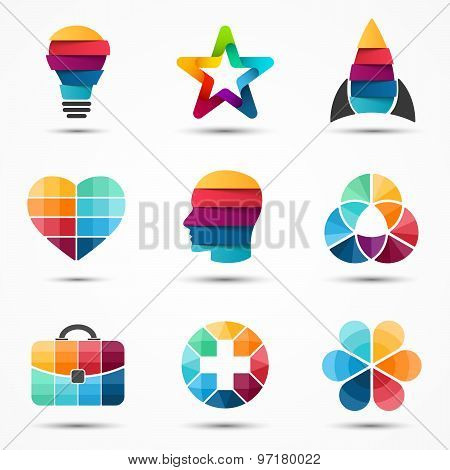 Logo templates set. Modern vector abstract circle creative sign or symbol. Design geometric elements