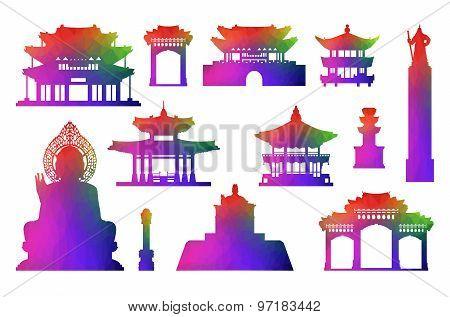 Korea Travel Icon Set.