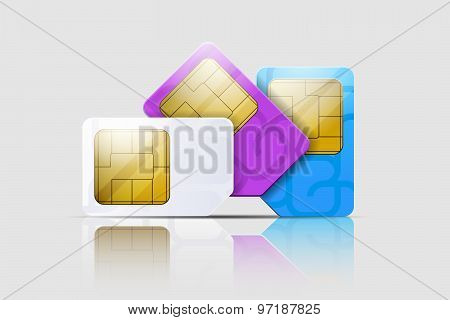 SIM cards for mobile phones. Mobile and wireless communication technologies