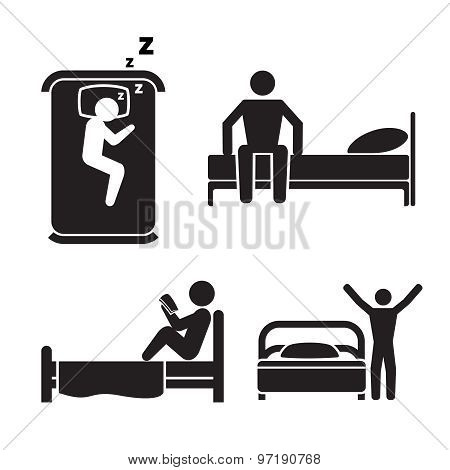 Person in bed icons. Hotel sleep signs