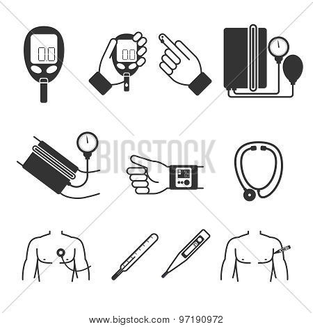 Set of vector medical measurement and tools. Glucometer, tonometer, thermometer, stethoscope