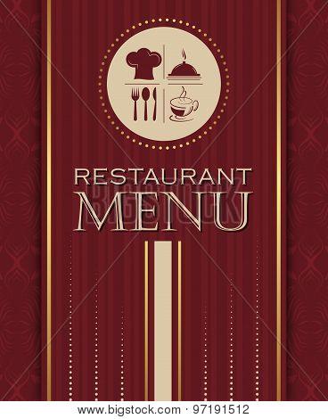 Restaurant menu design cover template in retro style vector illustration
