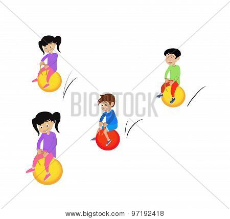 bouncing kids illustration