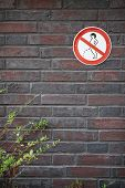 prohibition sign forbidding peeing in public on wall poster