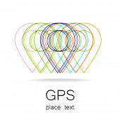 GPS - the sign location. Template logo. poster