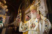 KIEV UKRAINE - Jun 28 2015: Primate of Ukrainian Orthodox Church Kiev Patriarchate Filaret during festive liturgy at St.Vladimir Patriarchal cathedral in occasion of baptism of Kievan Rus-Ukraine poster