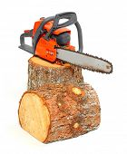 Cut logs fire wood and chainsaw isolated on white background. Renewable resource of a energy. Environmental concept. poster