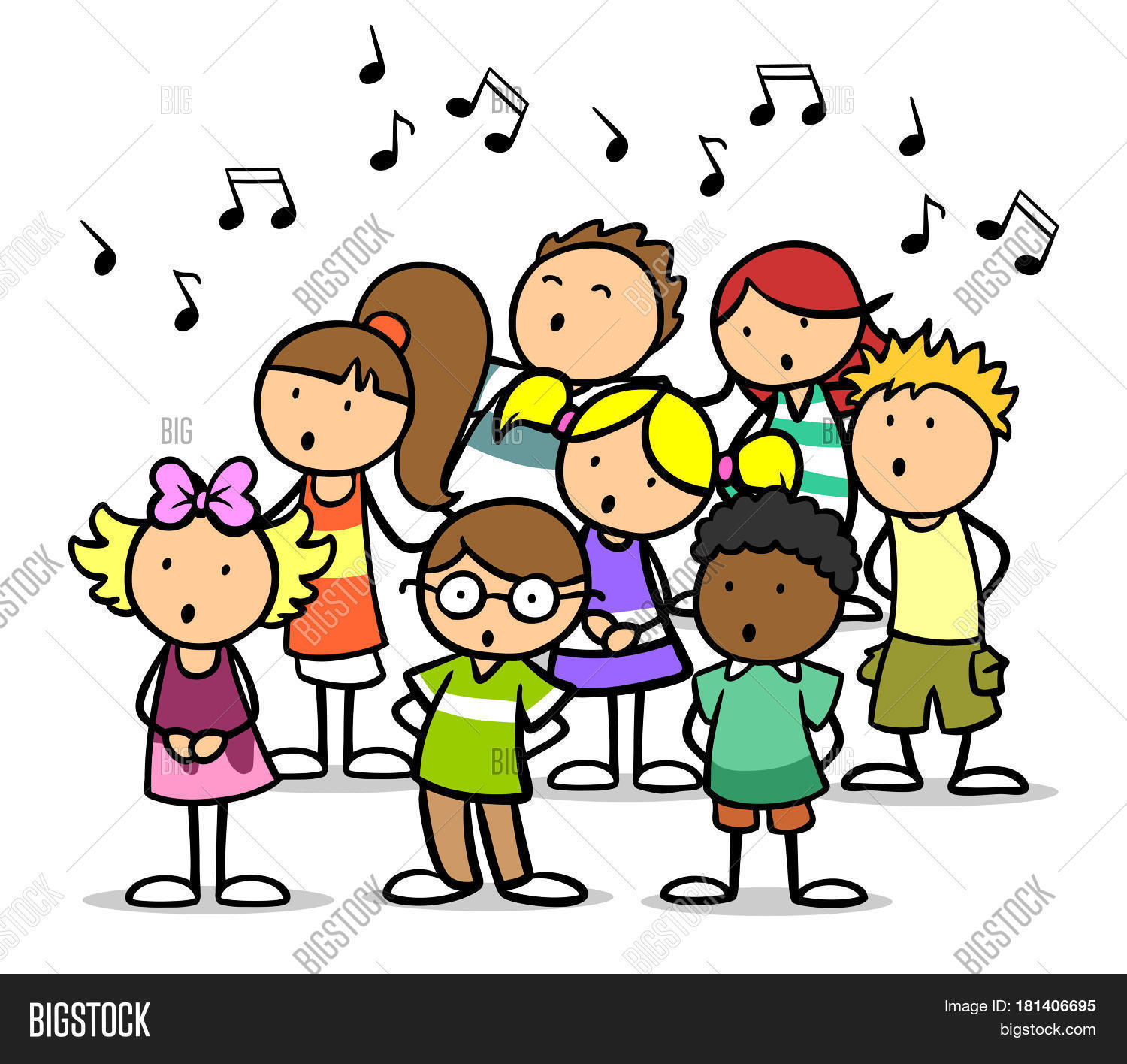 cartoon choir of children singing song as music school concept - Cartoon Image Of Children