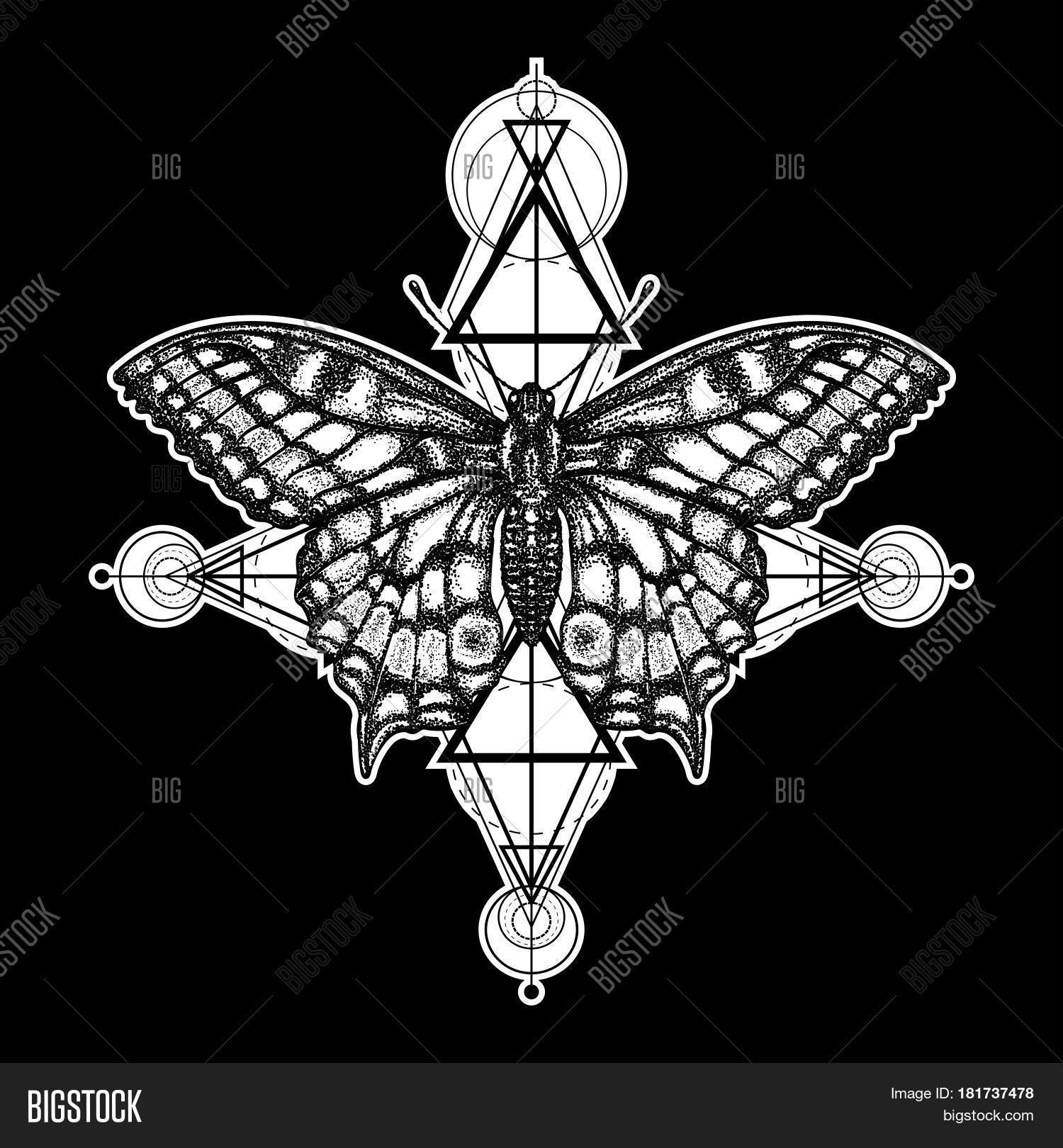 638a76df1110e Butterfly tattoo geometrical style. Beautiful Swallowtail boho t-shirt  design. Mystical symbol of