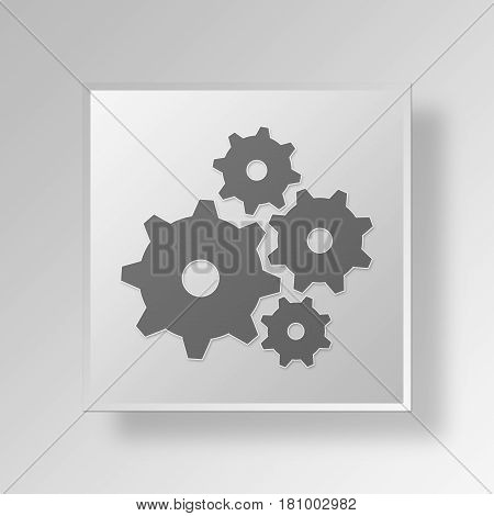 Gray Square cog wheels Symbol icon Concept