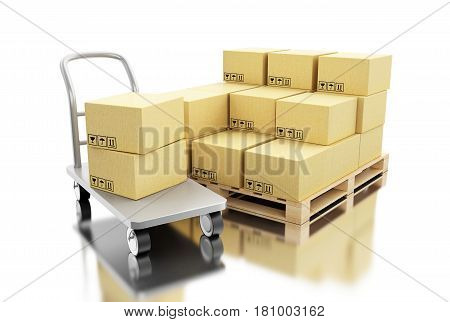 3d render ilustration. Cardboard boxes on pallet. Delivery and transportation package concept. Isolated white background