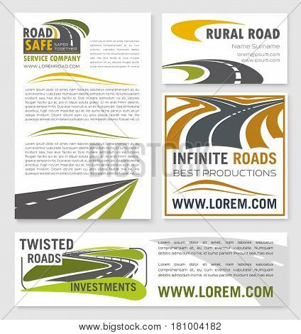Road construction or development investment company vector banners and corporate posters template. Design of highway routes or motorway elements and symbols for business card