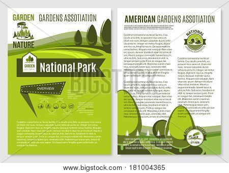 Landscape and gardening company vector brochures or posters for garden landscaping design association of park trees and planting service. Outdoor nature village or urban and city greenery landscape