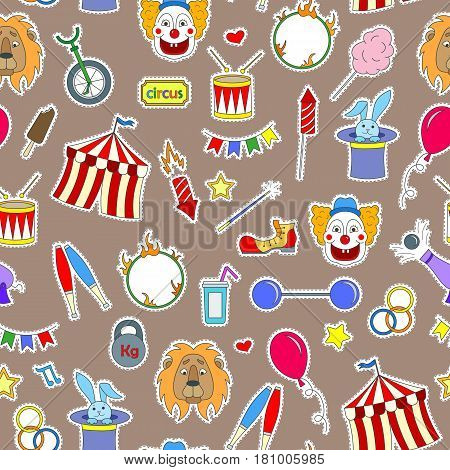 Seamless pattern on the theme of circus simple colored icons patches on a brown background