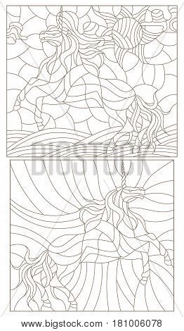 Set contour illustration of stained glass with abstract unicorns