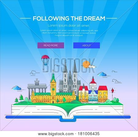 Following the dream - modern vector line travel illustration. Discover Netherlands and Germany. Have a trip, enjoy your vacation. Be on a safe and exciting journey. Landmarks on a book - cathedrals, palaces and museums