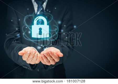 Security services, cybersecurity and protection concept. Login sign in concepts. Businessman offer padlock symbol of security.