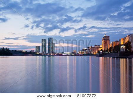 View of the embankment of the river Ishim in the evening. Astana. Kazakhstan