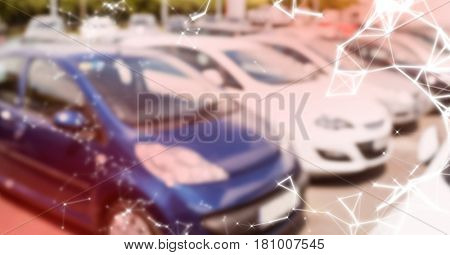 Digital composite of Cars in carpark with red overlay and white network