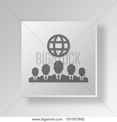 Gray Square International Businessmen Symbol icon Concept