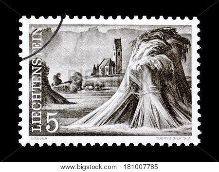 LIECHTENSTEIN - CIRCA 1961 : Cancelled postage stamp printed by Liechtenstein, that shows Sheaves of wheat in front of the Church of Bendern.