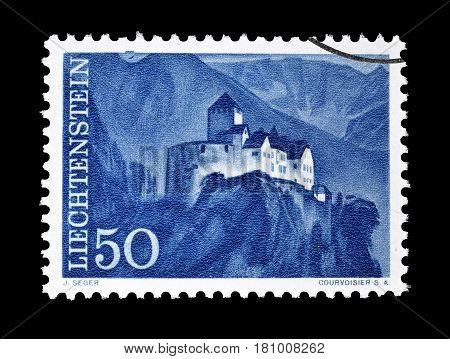 LIECHTENSTEIN - CIRCA 1961 : Cancelled postage stamp printed by Liechtenstein, that shows Vaduz castle.