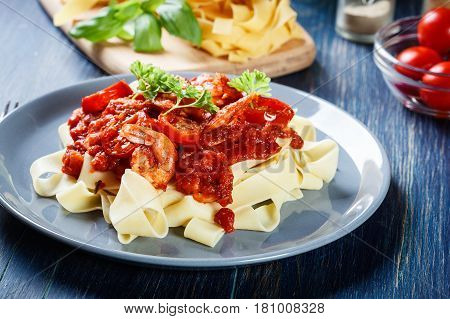 Pappardelle Pasta With Shrimp, Tomatoes And Herbs
