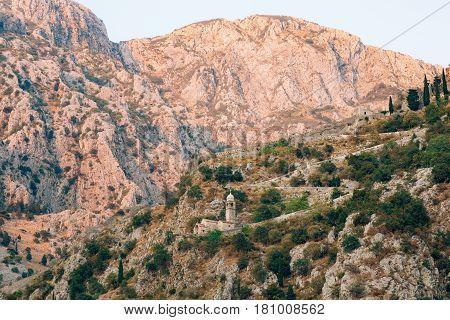 Church Gospa od Zdravlja of Kotor on the wall, Montenegro, Kotor Bay, the Balkans, the Adriatic Sea.