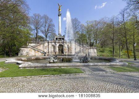 """""""Friedensengel"""" statue in Munich Germany in spring"""