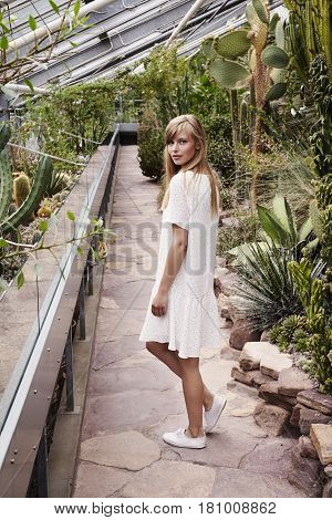 Gorgeous woman in summer dress and greenhouse portrait