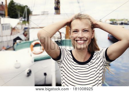 Portrait of beautiful smile on young woman