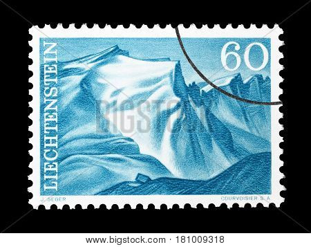 LIECHTENSTEIN - CIRCA 1961 : Cancelled postage stamp printed by Liechtenstein, that shows Naafkopf Falknis.
