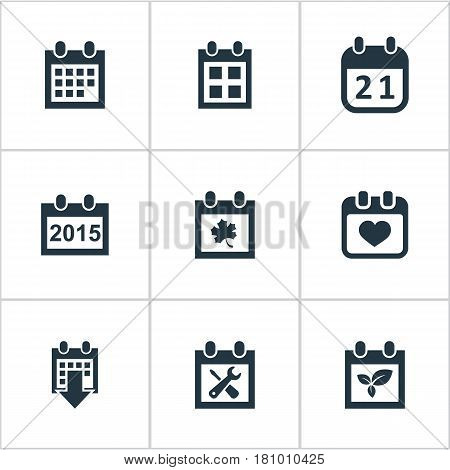 Vector Illustration Set Of Simple Date Icons. Elements History, Reminder, Agenda And Other Synonyms Day, Heart And Agenda.