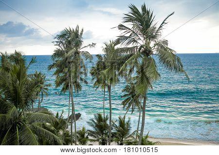 Splashes of waves on the island SriLanka