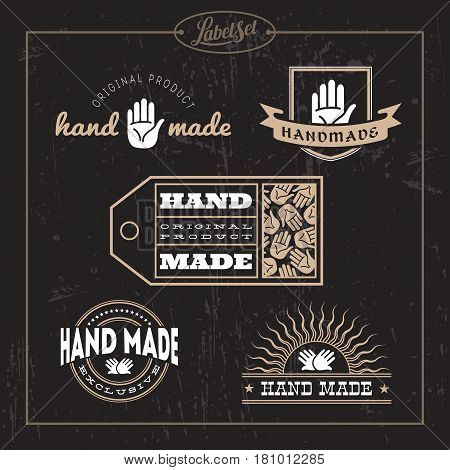 Templates for badges labels tags for hand made product. Set 5. Vector illustration.