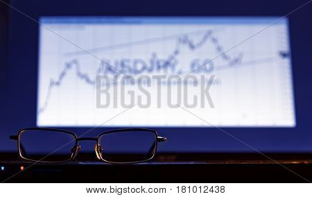 Stock Quotes On The Screen.