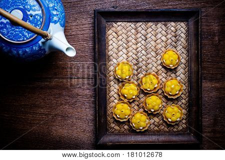 Kanom Jamongkut Is A Kind Of Crown-like Yellow Sweetmeat Mainly Made Of Yolk And Sugar. Thai Dessert