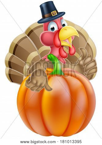 Cartoon thanksgiving turkey chef giving a thumbs up and wearing pilgrim hat behind a pumpkin