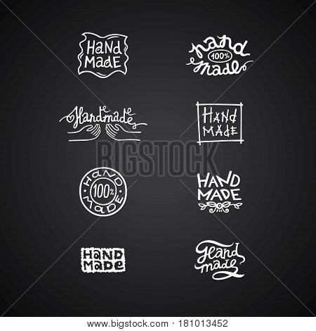 Set of vintage labels and logo elements retro symbols for local sewing shop knitwear company handmade artist. White on black. Can be used on handmade soap chocolate cookies scrapbooks ceramics