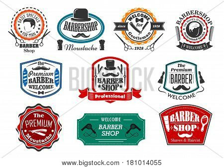 Barber shop salon premium vector icons. Isolated symbols of man beard and mustaches, shaving retro razor blade and scissors with hair dryer. Hipster barbershop hairdresser coiffeur or trend badges set