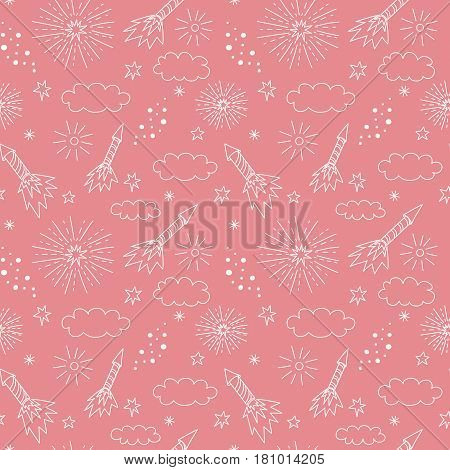 Vector seamless pattern with fireworks, petards, clouds, stars and confetti. Children's illustration.