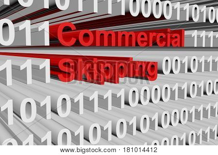 Commercial skipping in the form of binary code, 3D illustration