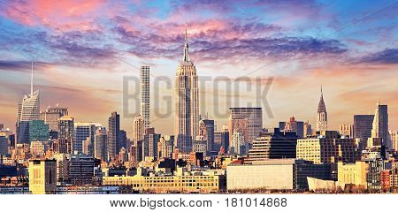 Manhattan Skyline  over Hudson River New York City