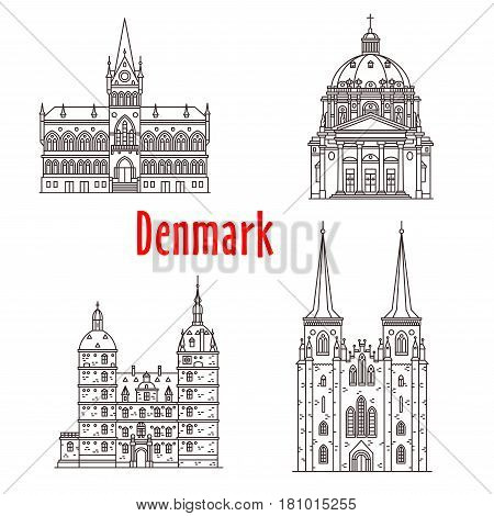 Denmark architecture and Danish famous landmark buildings. Vector isolated icons and facades of Vallo Castle, Vejle Town Hall, Roskilde Cathedral and Frederiks Church in Copenhagen