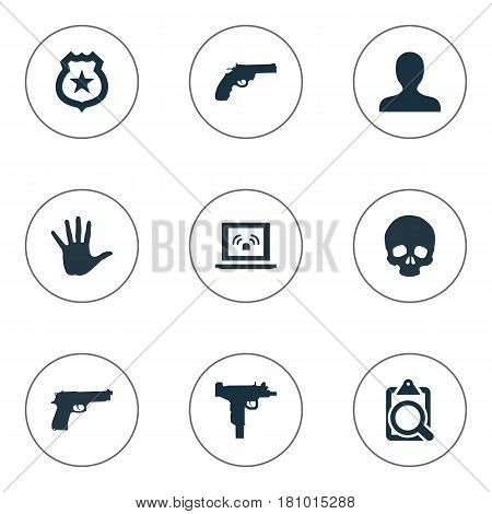 Vector Illustration Set Of Simple Offense Icons. Elements Person, Pistol, Weapon And Other Synonyms File, Gun And Danger.