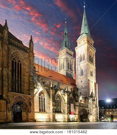 St. Lawrence church at night - Nuremberg Germany