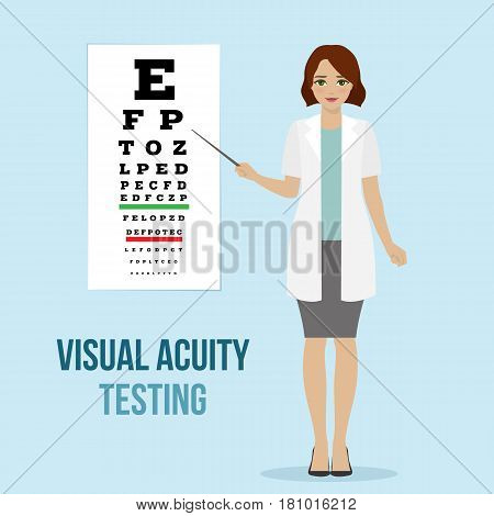 Eye vision test at an ophthalmologist eyesight acuity diagnostic for medical board. Vector.
