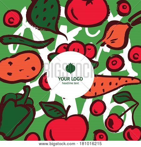 Design concept for identity of vegan crisps or fresh food restaurant logo template. Hand drawn vector illustration of potato tomato pepper onion carrot beet apple cherry